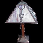 SALE Vintage Desk Lamp with Slag Glass Panels