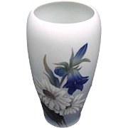 SALE Royal Copenhagen, Denmark, Blue Vase with Hand-Painted Flowers