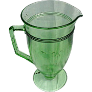 SALE Stately Green Pressed Glass Water Pitcher