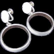 SALE Vintage Denmark Sterling Silver Hoop Dangle Earrings, Screw Backs