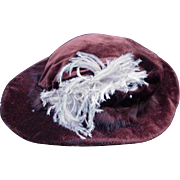 19th C. Satin-Lined, Velvet Doll Hat with Feather