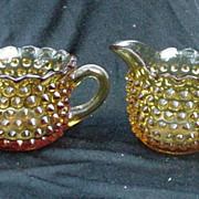 Vintage Amber, Pressed Glass Cream & Sugar, Hobnail Design
