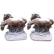 Pair of Bronze Bookends, Horses