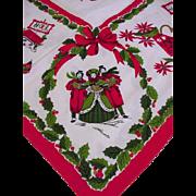 Vintage Cotton Tablecloth, Christmas Theme