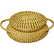 Vintage Sweet Grass Basket with Lid, Hand-Made, Charleston, S.C.