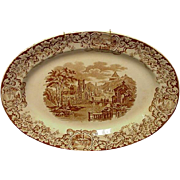 Brown Transferware Platter with Ivy Border, Scenic Reserves, Churches and Castles
