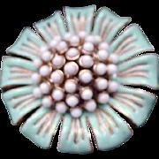 Vintage Floral Brooch, White and Turquoise on Goldtone, Signed Lee Sands