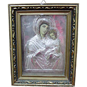 Religious Icon of Holy Mother and Child in High Relief Silver Metal