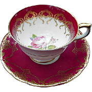 Anysley, English Bone China Cup and Saucer, Deep Rose