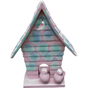 Royal Haegar Planter, Birdhouse Shape with Two Baby Birds Perched on Base