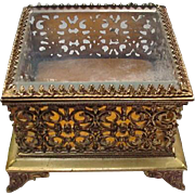 Vintage Gold-tone Metal Jewelry Box, Square, Beveled Glass Top, Reticulated Sides