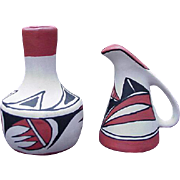 Native American Vintage Miniature Vase and Ewer, Signed Lucero, Isleta, New Mexico