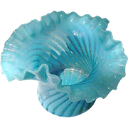Fenton Turquoise Opalescent Swirl Bowl