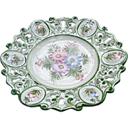 Enchanting, Hand-Painted, Portuguese Plate, Reticulated Border with Floral Reserves