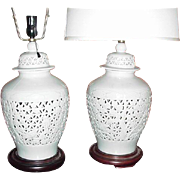 Pair of Vintage Pierced, Japanese Ginger Jar, White, Lamps