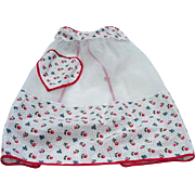Charming 1950s Apron, White Organza with Heart-shaped Pocket, Red Trim, Floral Border