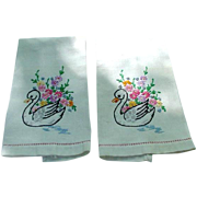 Pair of Vintage, Embroidered Guest Towels, Swan & Flowers