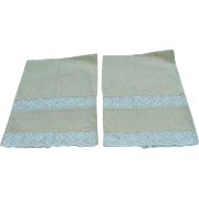 Pair of Yellow Linen Guest Towels with Lace Band and Border