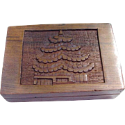 Wood Box with Carved Pagoda Image on Lid