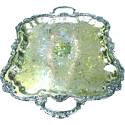 Large Silverplated Double-Handled Serving Tray, Sheridan, Silver over Copper