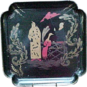 Vintage Japanned Metal Tray with Two Women and Exotic Bird