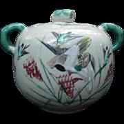 Satsuma Sugar Bowl with Bamboo Style Handles, Birds