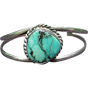 Silver Metal Cuff Bracelet with Single Turquoise Stone in Center