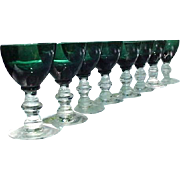 Vintage Set of 8 Emerald Green Cordials, Clear Stems