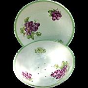 Vintage Porcelain Grape Bowl with Under Plate, Czechoslovakia