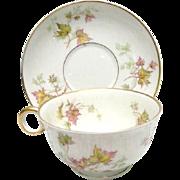 Haviland, France, Porcelain Cup and Saucer, Autumn Leaf Pattern