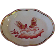 Hand-Painted Richard Ginori Oval Tray with Hand-Painted Roosters, Italy