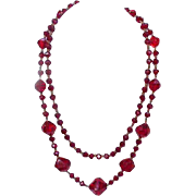 Faceted Ruby Glass Necklace, 20 Inches