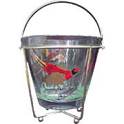 Vintage Glass Ice Bucket in Gold-Tone Metal Frame Embellished with Pheasants