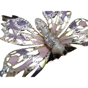 Vintage Gold-tone Butterfly Pin Embellished with Clear Rhinestones, Enamel