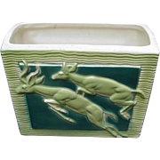 Mid-Century Planter, Relief Image of Deer Leaping