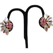 Vintage Clip Earrings with Opalescent Stones and Pink Rhinestones