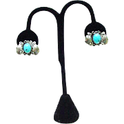 Silver Clip Earrings, Native American, Turquoise Center