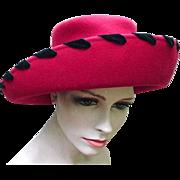 Beautiful Red Wool Hat with Black Velvet Ribbon Trim