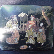 Early Japanese Lacquered Box w Kimono Clad Figures