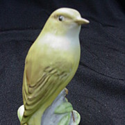 Royal Worcester Wood Warbler Figurine Perched on Tree Trunk