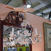 Vintage, Six-Light, Painted Metal Chandelier with Daisies