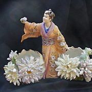 Fabulous German Porcelain Kimono-Clad Female Figure w Chrysanthemum Covered Pots