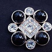 Vintage Monet Goldtone Pin, Rhinestones, Black Cab Beads