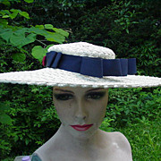 SALE Big Vintage, Straw Picture Hat w Blue Accent Ribbon, Bows, and Buttons