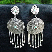 Vintage Filagree Wire Earrings Inset with Turquoise Colored Stones
