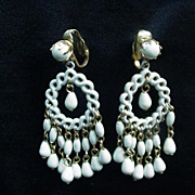 Vintage White Bead and Enamel Chandelier Clips