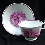 SALE 19th Century Pink Luster Cup and Saucer , Three Transfer Scenes
