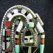 SALE Sterling Silver .925 Rainbow Man Kachina Pin, Pendant, Mexico