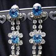 Dazzling Blue and Clear Rhinestone Dangles