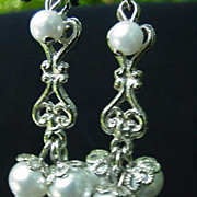 Silvertone Dangle Clips with Simulated Pearls